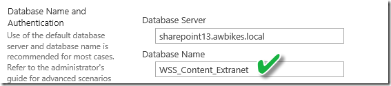 Dedicated Database for SharePoint Extranet