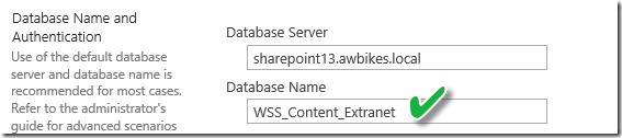 Dedicated Database for SharePoint Extranet