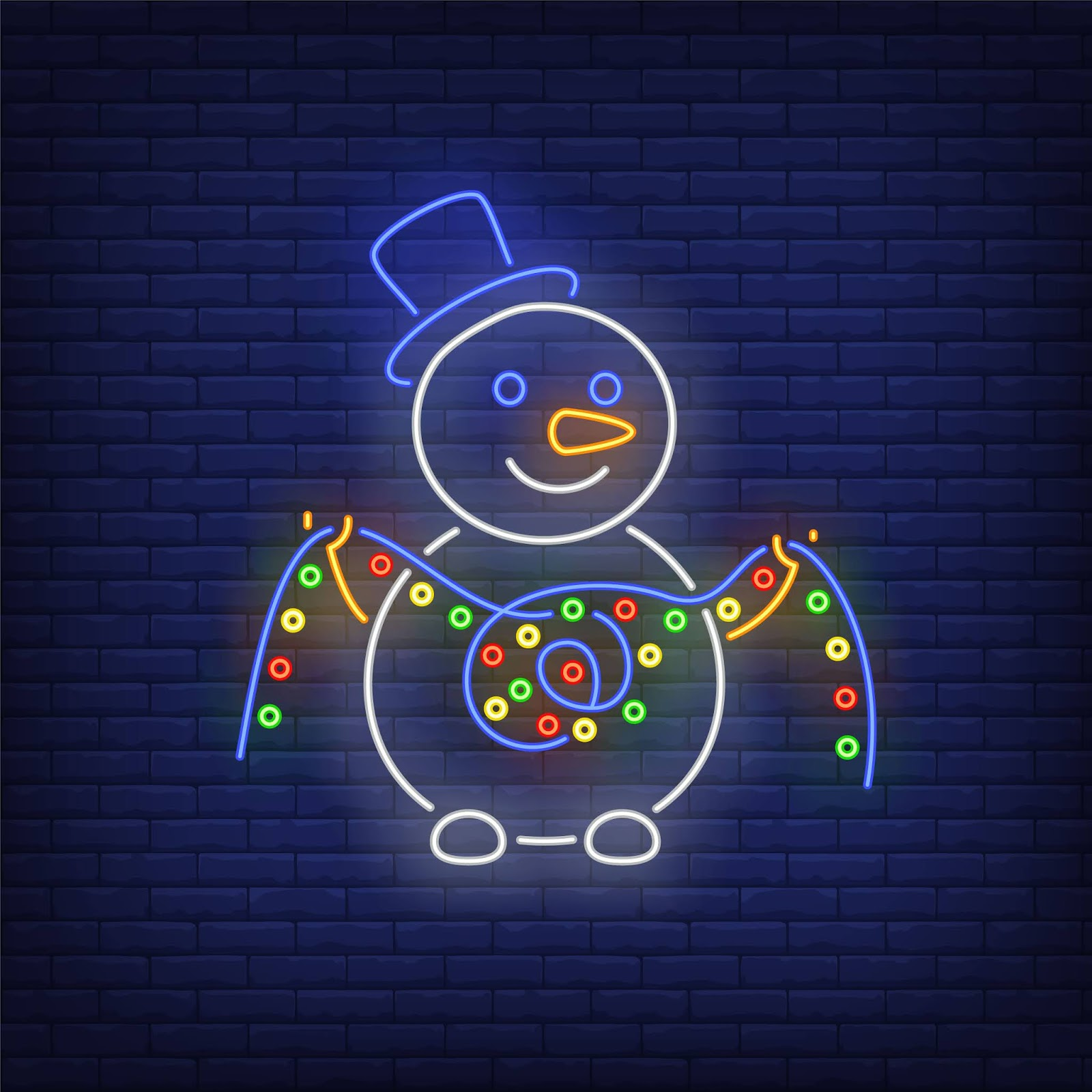 Snowman Wearing Topper Hat Holding Lights Garland Neon Style Free Download Vector CDR, AI, EPS and PNG Formats