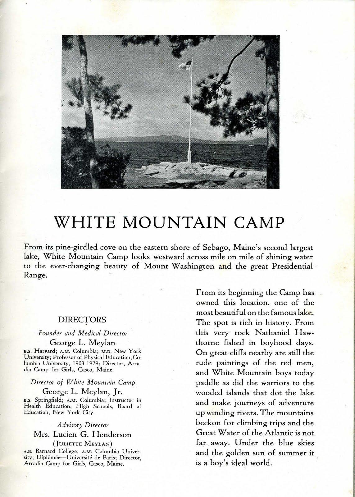 1941 White Mountain Camp Brochure