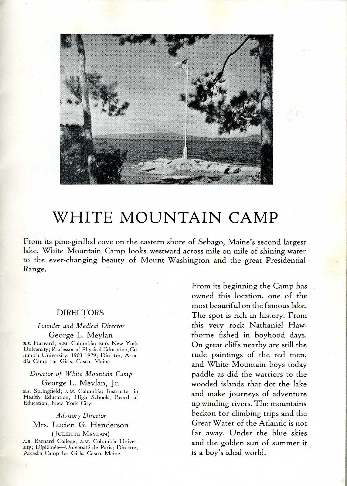 1941 White Mountain Camp Brochure