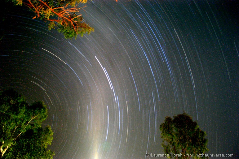 Star trails night sky Australian outback camping