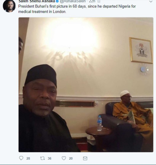 First Photo Of President Buhari In 68 Days Since He Left For UK