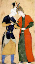 دو جوان کتاب به دست و دست در دست یکدیگر  نقاشی سبک مکتب صفوی safavid style in persian iranian miniature painting