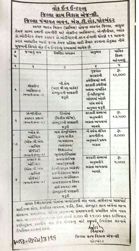 District Rural Development Agency Porbandar Recruitment