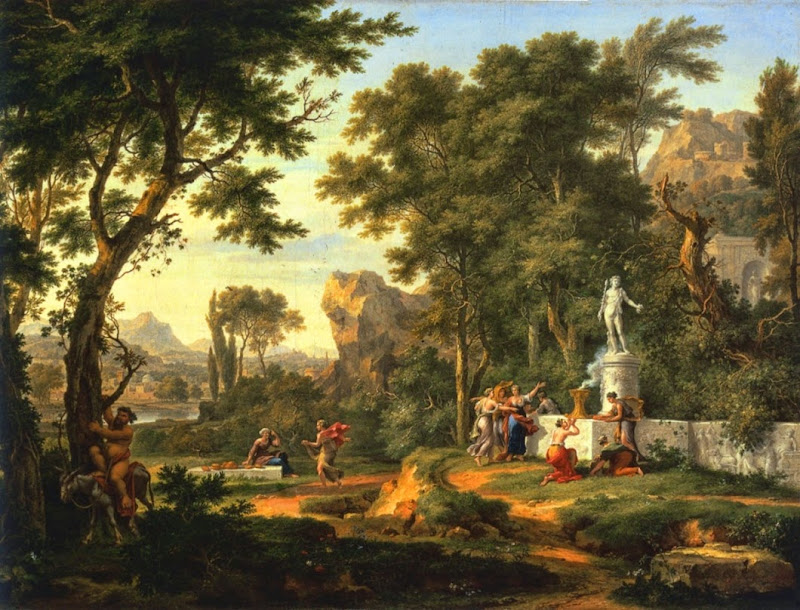 Jan van Huysum - A classical landscape with the Worship of Bacchus