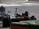 Crashed Kimi Raikkonen McLaren MP4-18