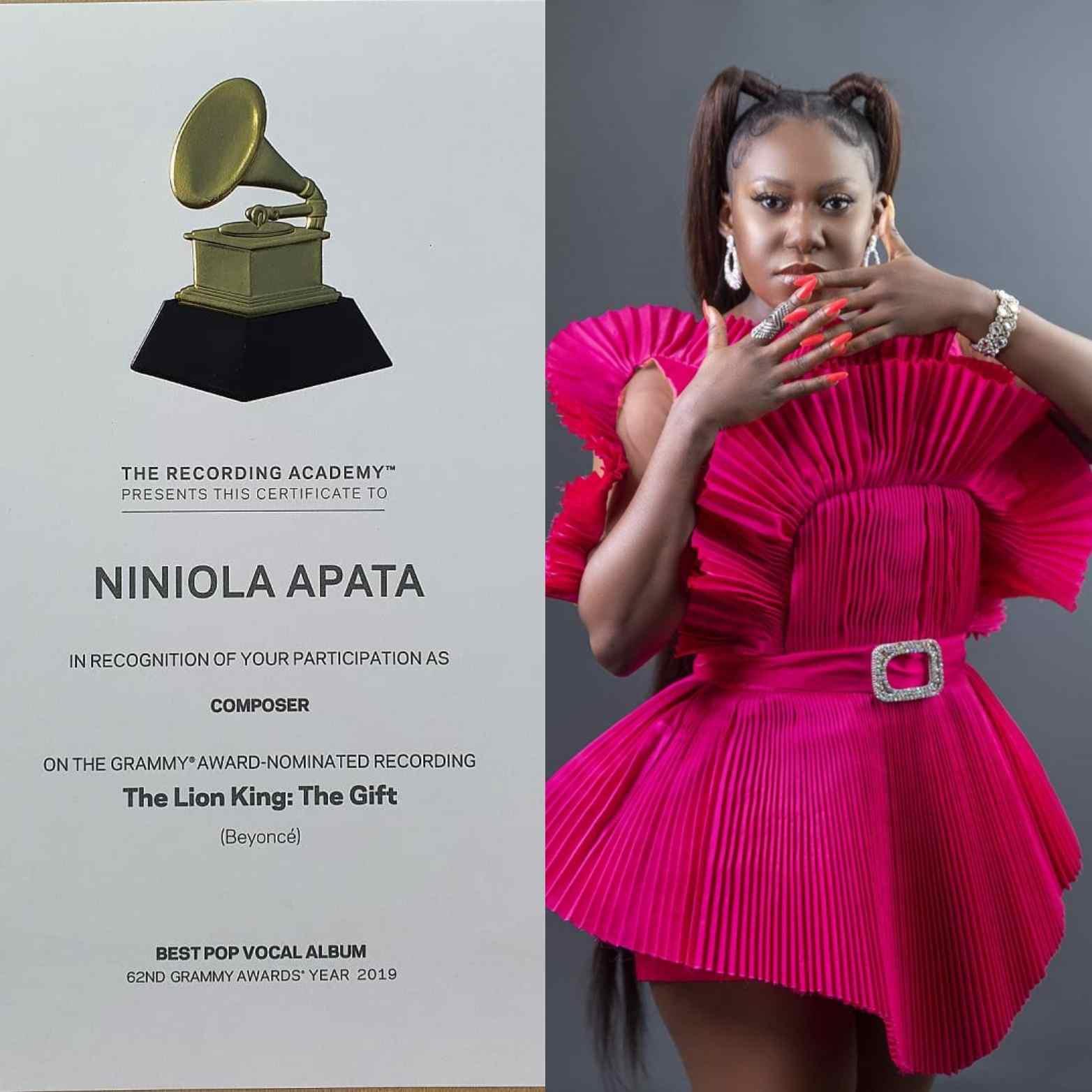NINIOLA NIGERIAN MUSIC ARTISTE PICK UP GRAMMY AWARD