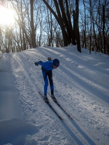 Bemidji Jr High skier on Sap Run.