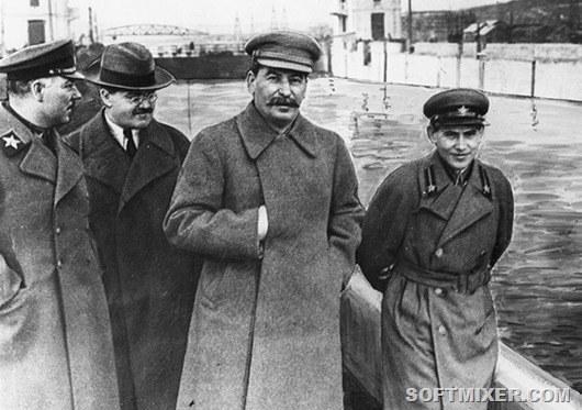From left to right - Kliment Voroshilov, Vyacheslav Molotov, Joseph Stalin and Nikolay Yezhov on the canal Moscow - Volga.