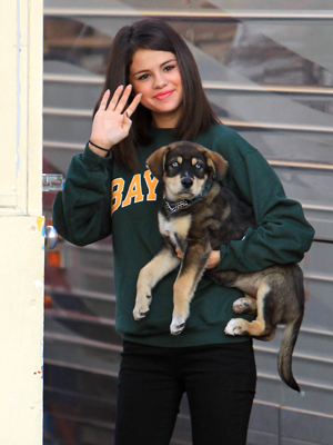 Selena Gomez and her dog