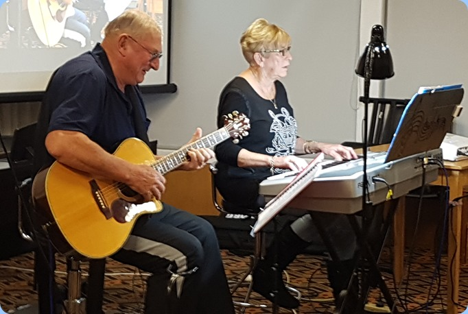 Kevin and Jan Johnston came from Algies Bay to play for us. Kevin on his acoustic Crafter guitar and Jan on her Korg Pa1X.