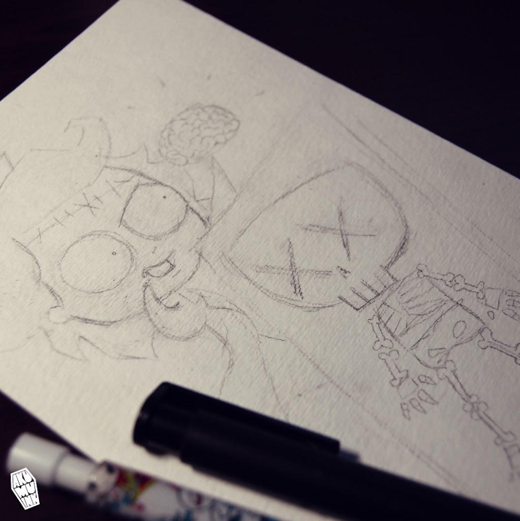 zombie watercolor, skull watercolor, monster watercolor, Frankenstein art, mad scientist art, skull manga, skeleton anime art, zombie anime, watercolor indie artist
