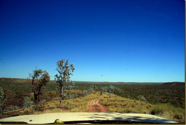 View from the dash driving through Gregory National Park, Northern Territory, Australia