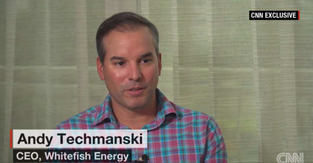 Screenshot of a CNN interview with CEO of Whitefish Energy, Andy Techmanski, 20 November 2017. Photo: CNN