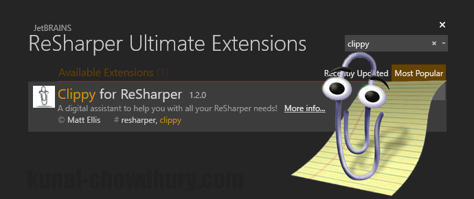 Like Clippy? Get assistance in #VisualStudio using #ReSharper plugin (www.kunal-chowdhury.com)