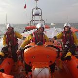 The ILB crew brings the windsurf kit back to station. 28 September 2013. Photo credit: RNLI / Rob Inett
