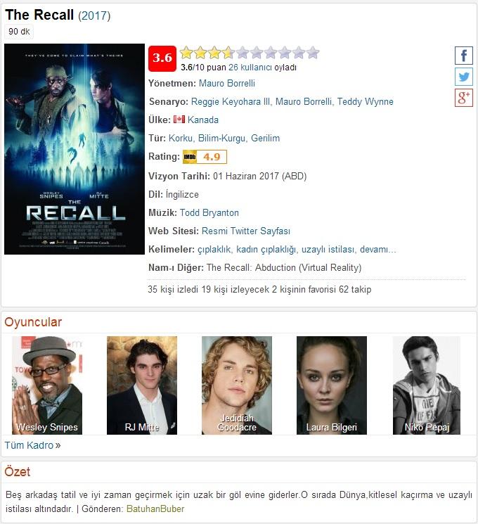 The Recall 2017 - 1080p 720p 480p - Türkçe Dublaj Tek Link indir