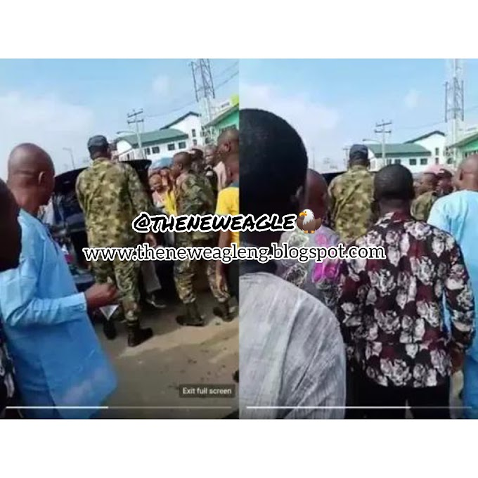 Drama As Soldiers Beat Up Police Men For Harassing A Young Man At Ikorodu Garage