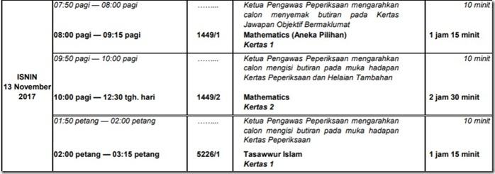 jadual-waktu-spm-13-nov-2017-isnin-13-11-17