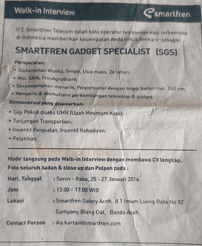 Lowongan SmartFren Aceh