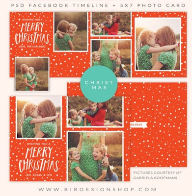 free Christmas photo card template