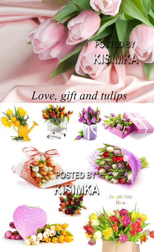 Stock Photo: Love, gift and tulips
