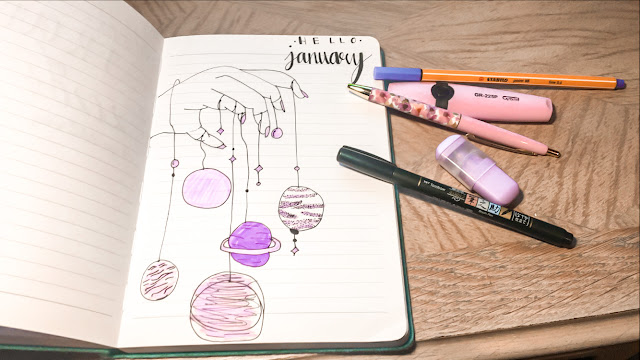 Journaling, hello January, journal doodles, planets drawing, doodling, colouring, jan bujo spread