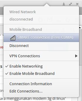 Modem USB yang terdeteksi dengan benar, akan langsung menampilkan Mobile Broadband