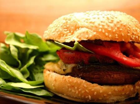 Grilled Portobello Sandwich with Roasted Red Pepper and Mozzarella Recipe