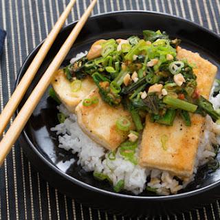 Crispy Tofu & Bok Choy Red Curry with Jasmine Rice, Thai Basil & Cashews