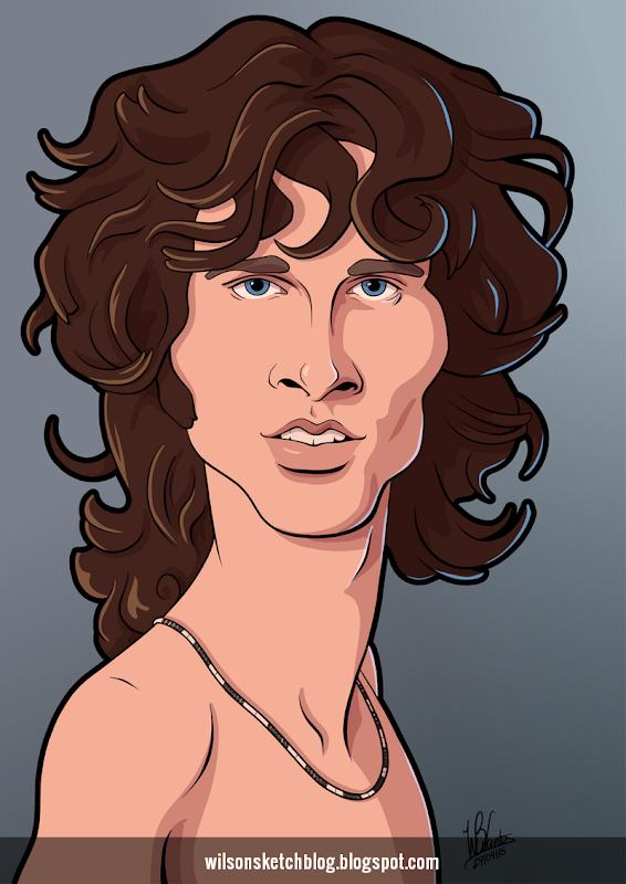 Cartoon caricature of Jim Morrison.