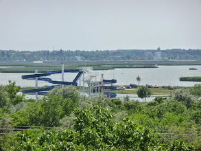 Photo: Slides at beach at lakeside of Lake Velence. Viewed from terrace of restaurant Tekergö in Velence, Hungary.