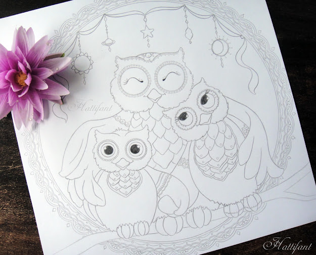 Hattifants Owl Family Love Coloring Page