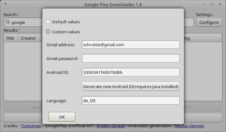 GooglePlayDownloader Einstellungsmenü