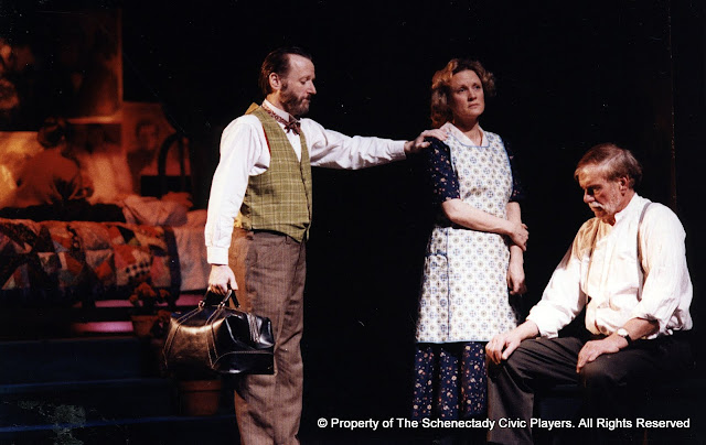 Jeffrey Knight, Cynde Schwartz and Bob Laurilliard in LOOK HOMEWARD, ANGEL (R) - March 1994.  Property of The Schenectady Civic Players Theater Archive.