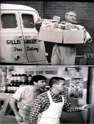 Free grocery delivery truck of Herbert T. Gillis and 'Please serve yourselves' store sign over his son Dobie Gillis and friend Maynard G. Krebs in 1961 TV show 'The Many Loves of Dobie Gillis'