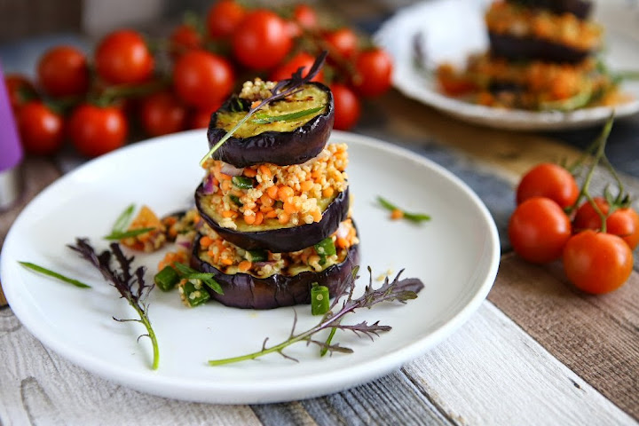 Aubergine Stacks with Red Lentils and Quinoa