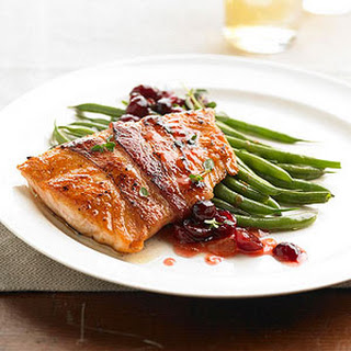Bacon-wrapped Salmon With Fruit Chutney.