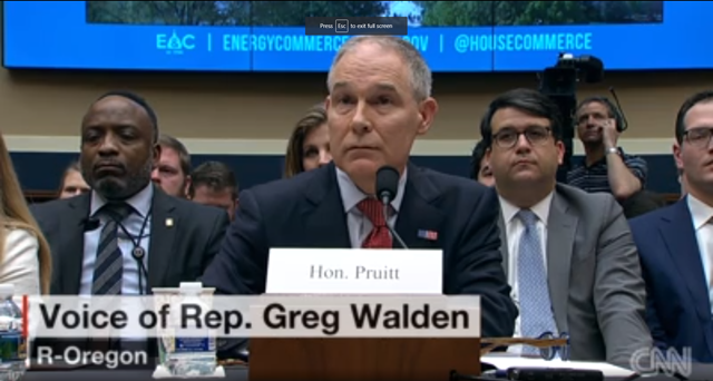 Screenshot of EPA chief Scott Pruitt testifying with the House Energy and Commerce Committee on 26 April 2018. Photo: CNN