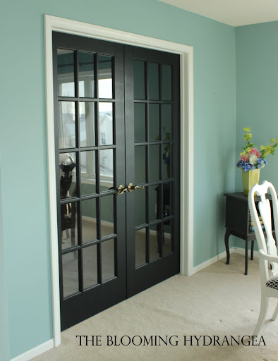 black french doors dining room aqua