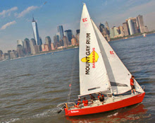 J/24 one-design sailboat- sailing off Manhattan YC in New York