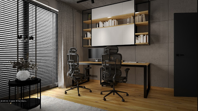 Domowy gabinet w loftowym stylu, w którym znajduje się drewniane biurko na czarnych nóżkach oraz czarne fotele do pracy.