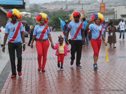 Des Congolais avant le match de Caf le 28/01/2013 entre RDC-Mali : 1-1 à Durban en Afrique du Sud. Radio Okapi/© Don John Bompengo