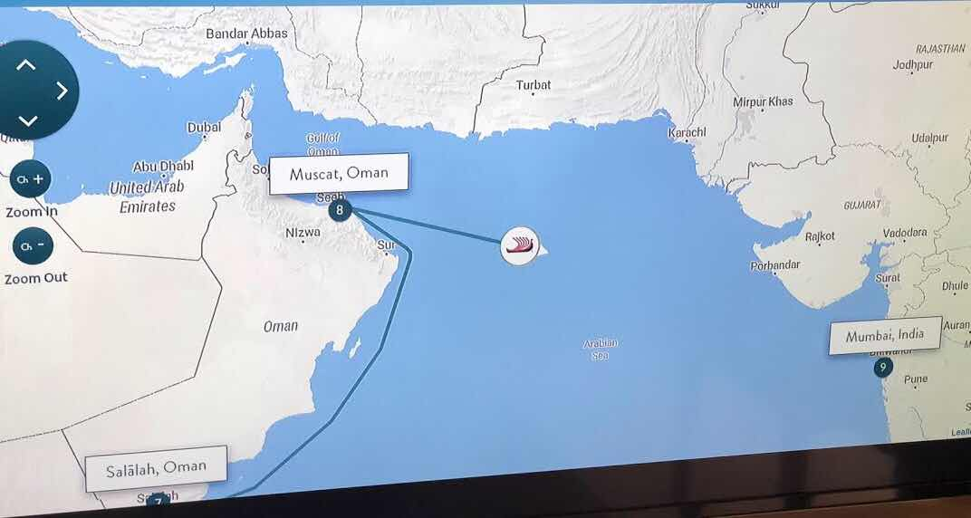 ship Tracker screenshot just after leaving Muscat, Oman