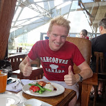 enjoying a salmon feast lunch at the SandBar in Vancouver in Vancouver, British Columbia, Canada