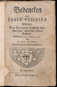 Cover of Jakob Bohme's Book Bedencken Uber Esaiae Stiefels Buchlein (1682,in German)