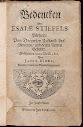 Bedencken Uber Esaiae Stiefels Buchlein (1682,in German)