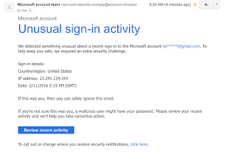 Unusual sign in activity from microsoft to my gmail google ive received unusual sign in activity notifications from gmail and facebook but this was a microsoft sign in warning sent to my gmail reheart Gallery