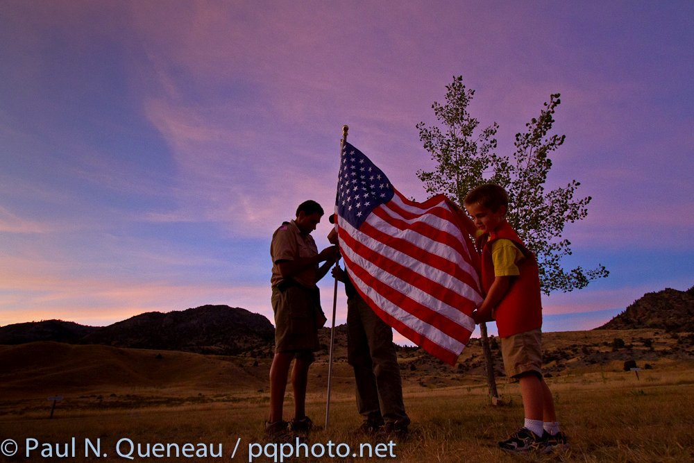 Cub Scout troop 4904 from Missoula prepares to erect the flag at the Lewis and Clark Caverns campground near Boulder.